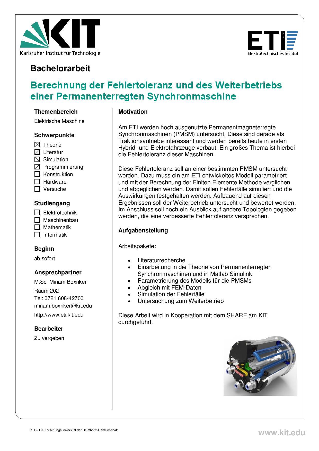 Kit Elektrotechnisches Institut Studentische Arbeiten